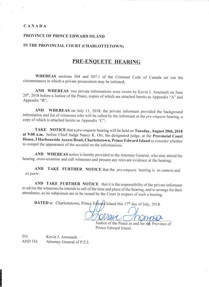 Pre-enquete hearing Date set