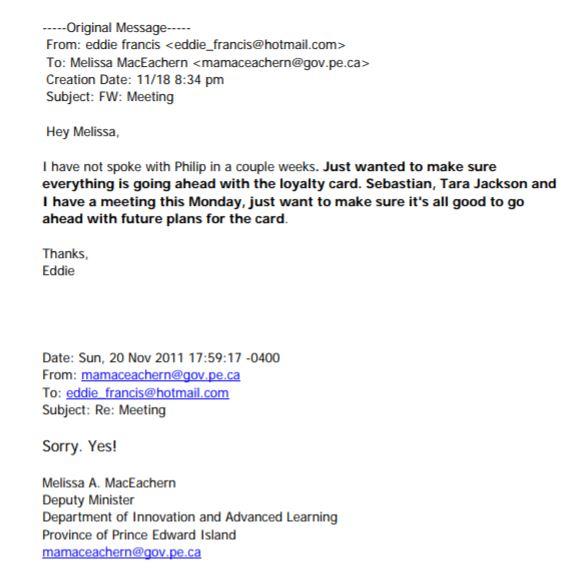 Loyalty Card Email Exchange between Eddie Francis and Melissa MacEachern